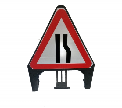 Road Narrow Right Sign Complete in Frame